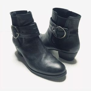 Paul Green Leather Black Ankle Boots Belted Moto